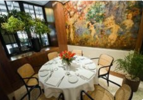"<img src= ""restaurant.jpg"" alt= ""dining room with round table in old building with murals and flowers"">"
