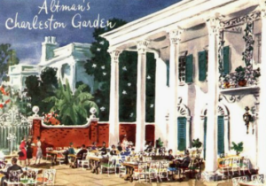 "<img src= ""restaurant.jpg"" alt= ""Elegant dining room of a restaurant with large columns and a mural with palm trees and a large home in the background. The restaurant looks like a large Southern home "">"