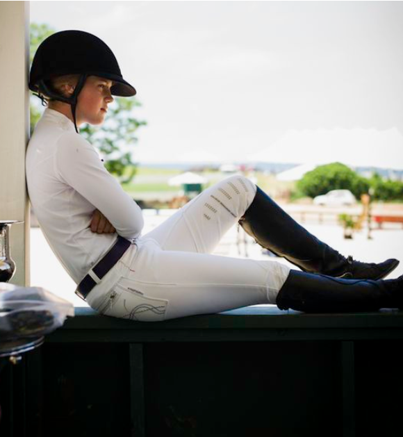 "<img src= ""girl.jpg"" alt= ""young girl in riding clothes siting horizontally in a window"">"