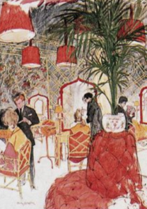 "<img src= ""hair salon.jpg"" alt= ""drawing of elegant hair salon with ferns and red sofa"">"