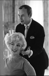 "<img src= ""woman and hairdresser.jpg"" alt= ""Marilyn Monroe with hairdresser Mr. Kenneth in business suit "">"